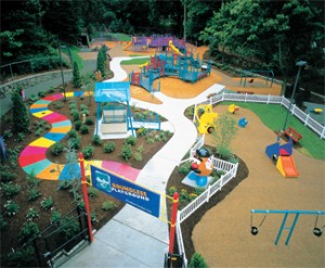 Overview of the playground at Roger Williams Park
