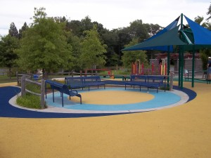 Gathering area at accessible playground