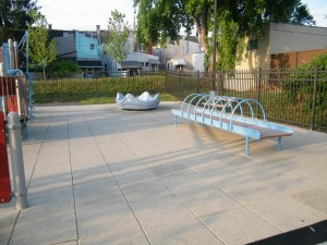 Roller table in inclusive playground