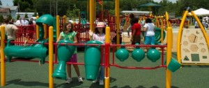 music area at inclusive playground for children of all abilities