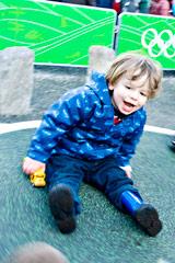 Child enjoys the new playground