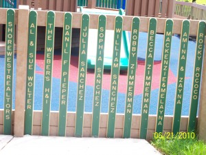 Picket Fence with sponsors' names