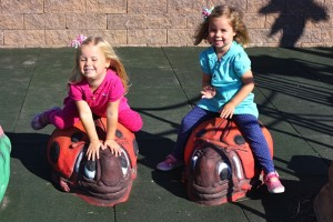 Little girls sit on custom ladybug seats in inclusive playground