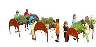 Gardening beds for accessible playground