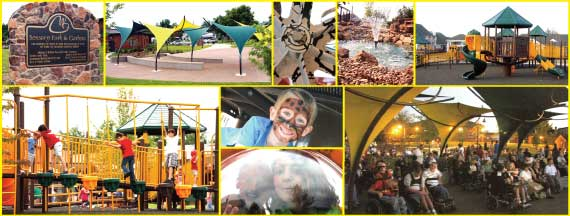 montage of photos fro Wendall Fosters Universally-accessible sensory garden and park