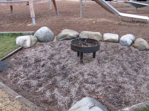 Fire pit at adventure playground