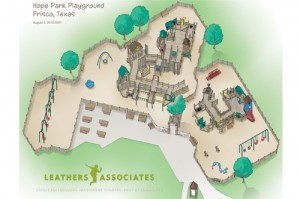 Conceptual drawing of Park Hope, an inclusive playground designed by Leathers and Associates